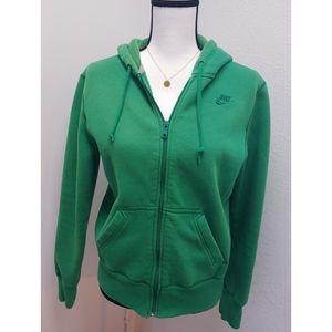 Nike Green Full Zip Sweatshirt Hoodie Size M